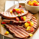 Grilled Ham Steaks with Peach Salsa
